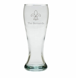 PERSONALIZED PILSNER GLASS: SET OF 4- FLEUR DE LIS