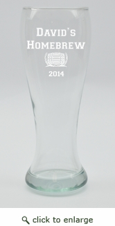 PERSONALIZED PILSNER GLASS: SET OF 4- HOME BREW COLLEGIATE