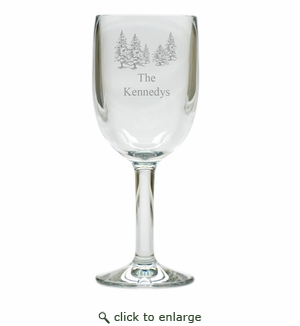 PERSONALIZED PINE TREES WINE STEMWARE - SET OF 4 (Unbreakable)