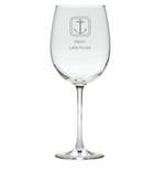 PERSONALIZED ROPE ANCHOR WINE STEMWARE - SET OF 4 (GLASS)