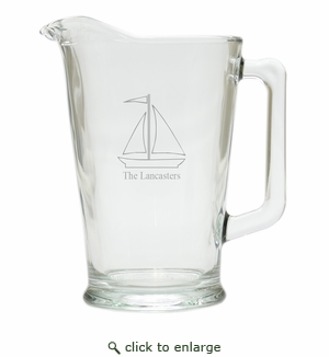 PERSONALIZED SAILBOAT PITCHER  (GLASS)