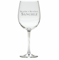 PERSONALIZED SENOR Y SENORA WINE STEMWARE - SET OF 4 (GLASS)
