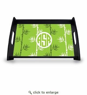 "Personalized Serving Tray - 11"" x 17""Asian Elements - Green TeaCircle Monogram"
