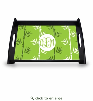 "Personalized Serving Tray - 11"" x 17""Asian Elements - Green TeaVine Monogram"