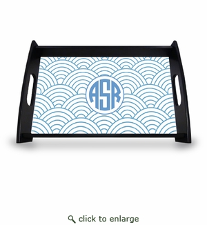"Personalized Serving Tray - 11"" x 17""Asian Elements - Wild Blue LupinCircle Monogram"