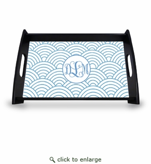 "Personalized Serving Tray - 11"" x 17""Asian Elements - Wild Blue LupinVine Monogram"