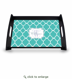"""Personalized Serving Tray - 11"""" x 17""""Moroccan Vine Initial and Name"""