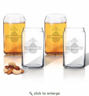 PERSONALIZED SPLIT LETTER PINEAPPLE BEER CAN GLASSES SET OF FOUR