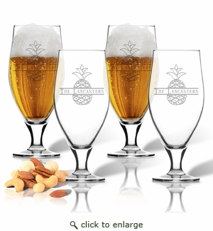 PERSONALIZED SPLIT LETTER PINEAPPLE CERVOISE PINT GLASS SET OF FOUR