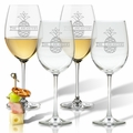 PERSONALIZED SPLIT LETTER PINEAPPLE WINE STEM SET OF FOUR