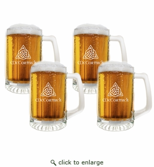 PERSONALIZED SPORTS MUG (GLASS) SET OF 4: Celtic Knot with Celtic Name