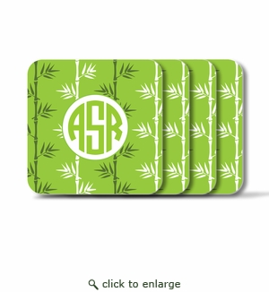 Personalized Square Coasters ( Set of 4)Asian Elements -Green TeaCircle Monogram