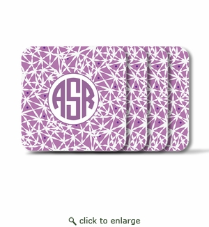 Personalized Square Coasters ( Set of 4)Asian Elements - LavenderCircle Monogram
