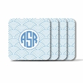 Personalized Square Coasters ( Set of 4)Asian Elements - Wild Blue LupinCircle Monogram