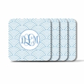 Personalized Square Coasters ( Set of 4)Asian Elements - Wild Blue LupinVine Monogram