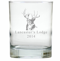 PERSONALIZED TROPHY BUCK : OLD FASHIONED - SET OF 4 (Unbreakable)