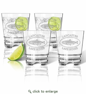 PERSONALIZED TROUT LAKE HOUSE OLD FASHIONED - SET OF 4 (Unbreakable)