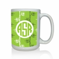 Personalized White Mug  15 oz.Asian Elements -Green TeaCircle Monogram