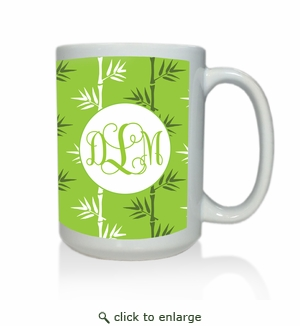 Personalized White Mug  15 oz.Asian Elements - Green TeaVine Monogram