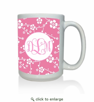 Personalized White Mug  15 oz.Asian Elements - SatsumaVine Monogram