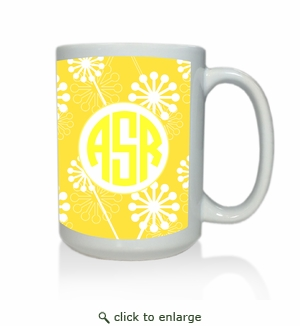 Personalized White Mug  15 oz.Asian Elements - VerbenaCircle Monogram