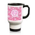 Personalized White Stainless Steel Travel Mug - 14 oz.Asian Elements - SatsumaCircle Monogram