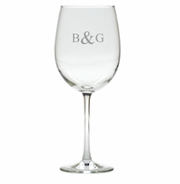 PERSONALIZED WINE STEMWARE INITIAL & INITIAL - SET OF 4 (GLASS)