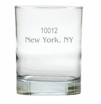 PERSONALIZED ZIP CODE OLD FASHIONED - SET OF 6 GLASS