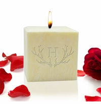 Prime Design Candles with Antler and Initial Motif