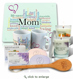 Pure Energy Apothecary Lavender and Satsuma Soaps, Candles, Mom Cutting board, Mug and spoon