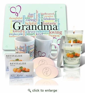 Pure Energy Apothecary Lavender Soap(2), Candle(2), Grandma Cutting board and Mug