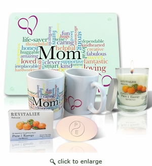Pure Energy Apothecary Satsuma Soap, Candle, Mom Cutting board and Mug