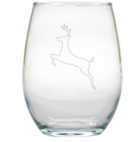 REINDEER WINE STEMLESS TUMBLER - SET OF 4 (GLASS)