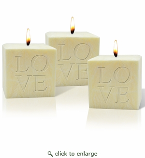 "SET OF 3 - 4"" PALM WAX CANDLE : LOVE"