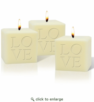 "SET OF 3 - 4"" SOY BLEND CANDLE : LOVE"