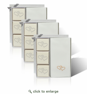 SET OF 3 - ECO-LUXURY COURTESY GIFT SET : DOUBLE HEART WITH GOLD