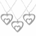 SET OF 3 - MOTHER AND CHILD DUAL HEART .935 STERLING SILVER