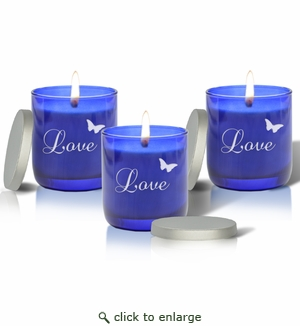 SET OF 3 - PERSONALIZED BLUE COLLECTION CANDLE : LOVE WITH BUTTERFLY
