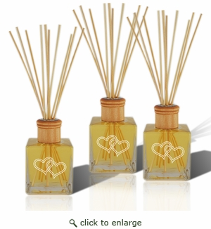 SET OF 3 - Personalized Reed Diffuser Complete with oil Double Heart