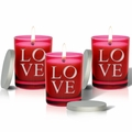 SET OF 3 - RUBY GEM COLLECTION GLASS CANDLE : LOVE
