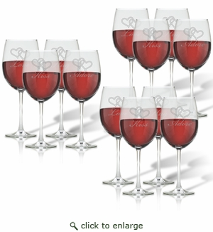 SET OF 3 - WINE STEMWARE - SET OF 4 (GLASS) : LOVE KISS HUG ADORE