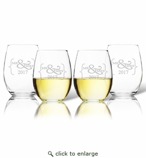 SET OF 4 WINE TUMBLERS - (GLASS) : Mr & Mrs 2017