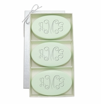 SIGNATURE SPA GREEN TEA & BERGAMOT TRIO: THREE BARS PERSONALIZED VINE MONOGRAM