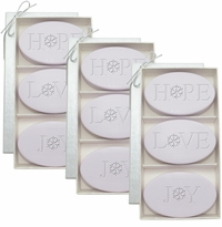 SIGNATURE SPA LAVENDER TRIO: 3 SETS of THREE BARS HOPE, LOVE, JOY