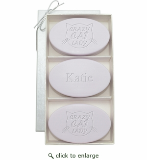 SIGNATURE SPA LAVENDER TRIO: THREE BARS PERSONALIZED CRAZY CAT LADY