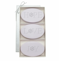 SIGNATURE SPA LAVENDER TRIO: THREE BARS PERSONALIZED HOPE, LOVE, JOY SNOWFLAKE