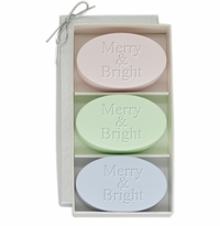 SIGNATURE SPA SATSUMA, GREEN TEA & BERGAMOT, and WILD BLUE LUPIN TRIO: THREE BARS MERRY & BRIGHT