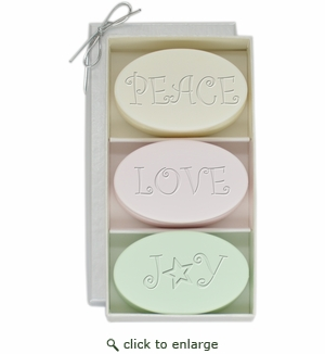 SIGNATURE SPA VERBENA, SATSUMA, GREEN TEA & BERGAMOT TRIO: THREE BARS PERSONALIZED PEACE, LOVE, JOY