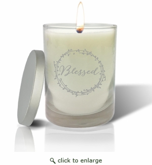 Soy Wax Hand Poured Glass Vessel Candle Blessed Design