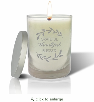 Soy Wax Hand Poured Glass Vessel Candle Grateful Thankful Blessed Design